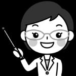 指し棒で説明する薬剤師の白黒(モノクロ)イラスト