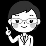 指差しポーズをする薬剤師の白黒(モノクロ)イラスト