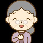 安心するおばあさん(お年寄り・シニア女性)のイラスト