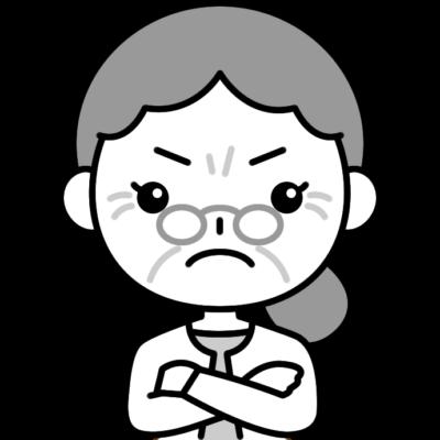 怒っているおばあさん(シニア女性)の白黒(モノクロ)イラスト
