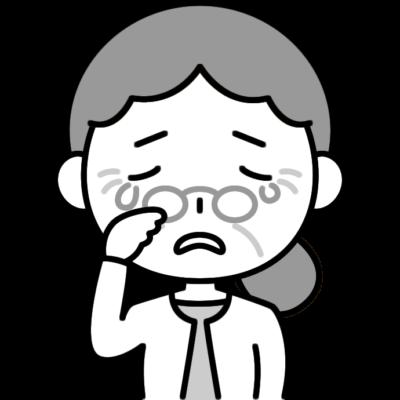 悲しくて泣いているおばあさん(シニア女性)の白黒(モノクロ)イラスト