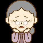 悩みを抱えるおばあさん(お年寄り・シニア女性)のイラスト