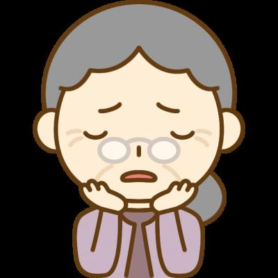 悩みを抱えるおばあさん(シニア女性)のイラスト