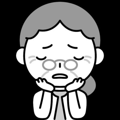 悩みを抱えるおばあさん(お年寄り・シニア女性)の白黒(モノクロ)イラスト