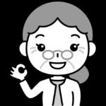 OKポーズをするおばあさん(お年寄り・シニア女性)の白黒(モノクロ)イラスト