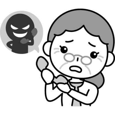 振り込め詐欺(オレオレ詐欺)の白黒(モノクロ)イラスト