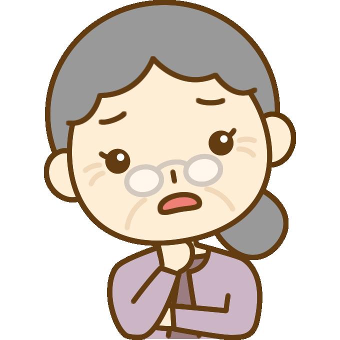 心配するおばあさん(シニア女性)のイラスト