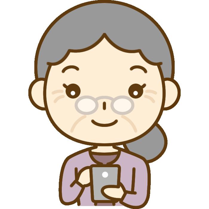 スマホを操作するおばあさん(シニア女性)のイラスト