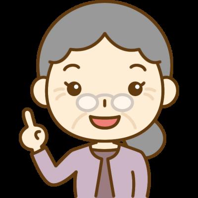 指差しポーズをするおばあさん(シニア女性)のイラスト
