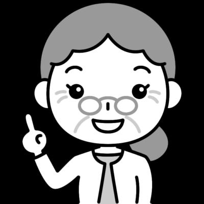 指差しポーズをするおばあさん(シニア女性)の白黒(モノクロ)イラスト