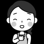 胸を撫で下ろして安心する主婦の白黒(モノクロ)イラスト