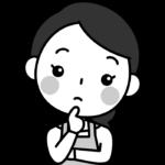 疑問・はてなのポーズをする主婦の白黒(モノクロ)イラスト