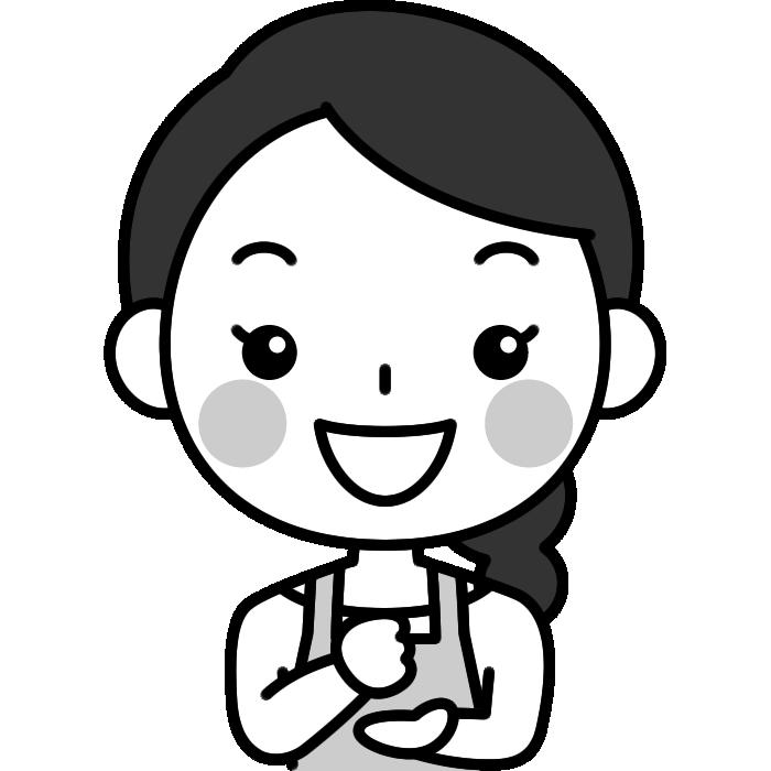 ひらめき・なるほどのポーズをする主婦の白黒(モノクロ)イラスト