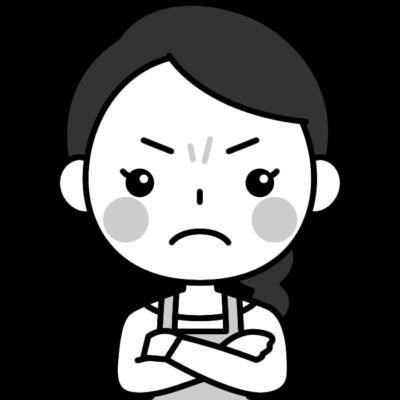 怒っている主婦の白黒(モノクロ)イラスト
