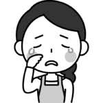 悲しくて泣いている主婦の白黒(モノクロ)イラスト
