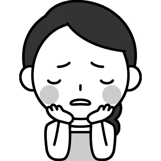 頬杖をついて悩む主婦の白黒(モノクロ)イラスト