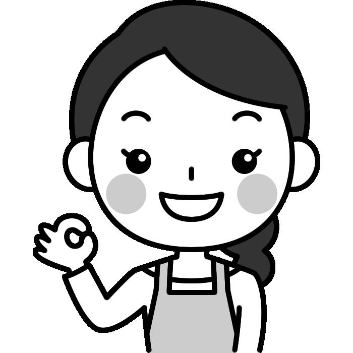 OKポーズをする主婦の白黒(モノクロ)イラスト