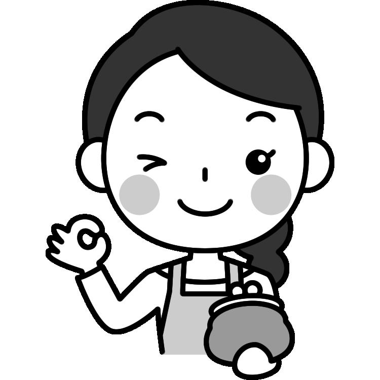 財布を持ってOKポーズをする主婦の白黒(モノクロ)イラスト