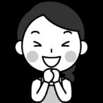 大喜びする主婦の白黒(モノクロ)イラスト