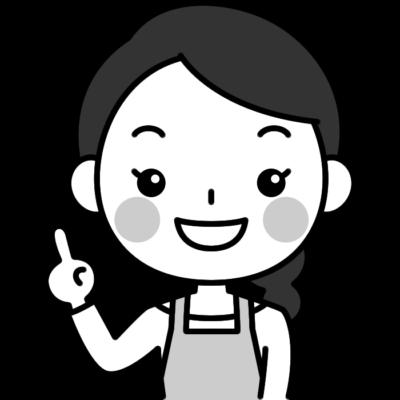 指差しポーズをする主婦の白黒(モノクロ)イラスト