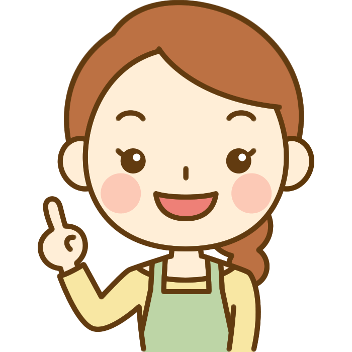 指差しポーズをする主婦のイラスト