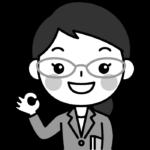 OKポーズをする先生(教師・講師)の白黒(モノクロ)イラスト