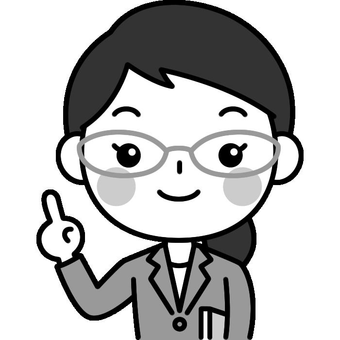 指差しポーズをする先生(教師・講師)の白黒(モノクロ)イラスト